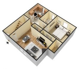 3D Furnished. 1 Bedroom 1 Bathroom. 750 sq. ft.