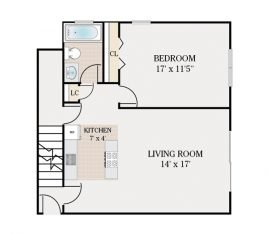 1 Bedroom 1 Bathroom. 850 sq. ft.