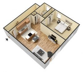 3D Furnished. 1 Bedroom 1 Bathroom. 850 sq. ft.