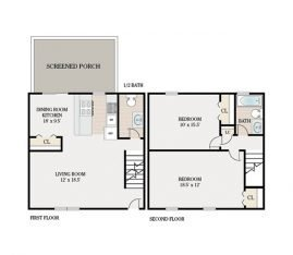 2 Bedroom Townhouse 1 Bathroom. 1300 sq. ft.