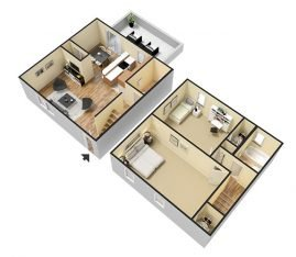 3D Furnished. 2 Bedroom Townhouse 1 Bathroom. 1300 sq. ft.