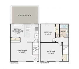 2 Bedroom Townhouse 1 Bathroom. 1550 sq. ft.