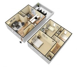 3D Furnished. 2 Bedroom Townhouse 1 Bathroom. 1550 sq. ft.
